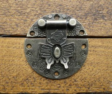 NEW Lock clasp closer latch hasp  ornate c/w screws antique bronze finish C068
